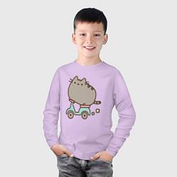 Лонгслив хлопковый детский Кот Пушин цвета лаванда — фото 2