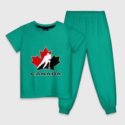 Пижама хлопковая детская Canada цвета зеленый — фото 1