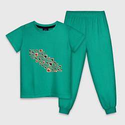 Пижама хлопковая детская World Poker цвета зеленый — фото 1
