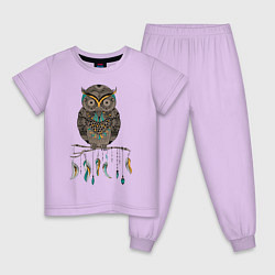 Пижама хлопковая детская Сова-шаман цвета лаванда — фото 1