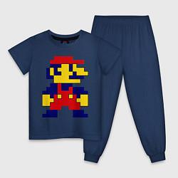 Пижама хлопковая детская Pixel Mario цвета тёмно-синий — фото 1