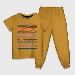 Пижама хлопковая детская Эквалайзер цвета горчичный — фото 1