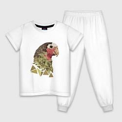 Пижама хлопковая детская Полигональный попугай цвета белый — фото 1