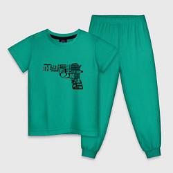 Пижама хлопковая детская Pulp Fiction Gun цвета зеленый — фото 1