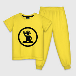 Пижама хлопковая детская Dj за пультом цвета желтый — фото 1