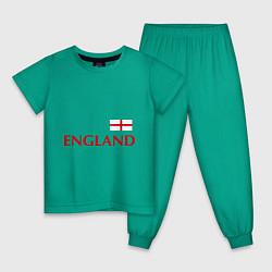 Пижама хлопковая детская Сборная Англии: 10 номер цвета зеленый — фото 1