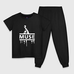 Пижама хлопковая детская Muse цвета черный — фото 1