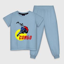 Пижама хлопковая детская Спортивное самбо цвета мягкое небо — фото 1