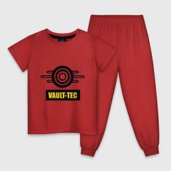 Пижама хлопковая детская Vault-tec цвета красный — фото 1