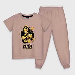 Пижама хлопковая детская Bendy and the ink machine цвета пыльно-розовый — фото 1