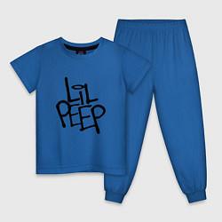Пижама хлопковая детская Lil Peep цвета синий — фото 1