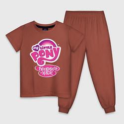Пижама хлопковая детская Frendship is magic цвета кирпичный — фото 1