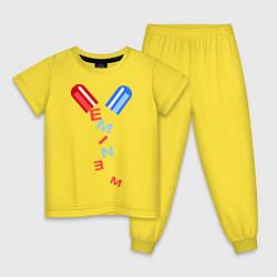 Пижама хлопковая детская Eminem Pill цвета желтый — фото 1