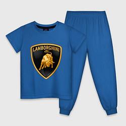 Пижама хлопковая детская Lamborghini logo цвета синий — фото 1