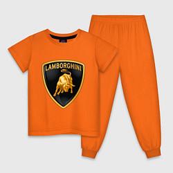 Пижама хлопковая детская Lamborghini logo цвета оранжевый — фото 1