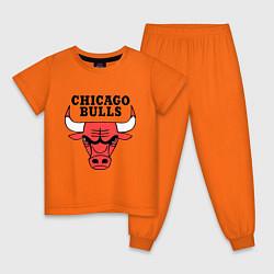 Пижама хлопковая детская Chicago Bulls цвета оранжевый — фото 1