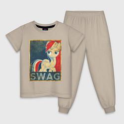 Пижама хлопковая детская Rainbow Dash SWAG цвета миндальный — фото 1