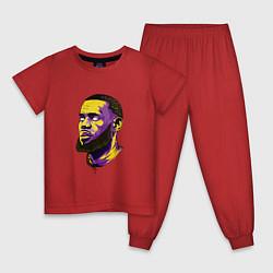 Пижама хлопковая детская Демонский Леброн цвета красный — фото 1