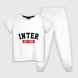Пижама хлопковая детская FC Inter Est. 1908 цвета белый — фото 1