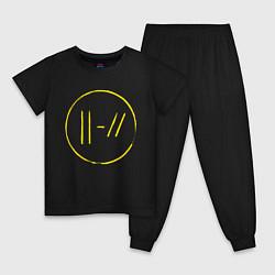 Пижама хлопковая детская Twenty One Pilots: Trench цвета черный — фото 1