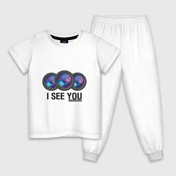 Пижама хлопковая детская I see you цвета белый — фото 1
