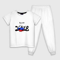 Пижама хлопковая детская Russia цвета белый — фото 1