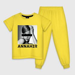 Пижама хлопковая детская Rihanna цвета желтый — фото 1