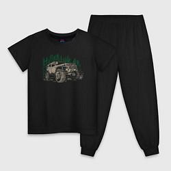 Пижама хлопковая детская Джип цвета черный — фото 1