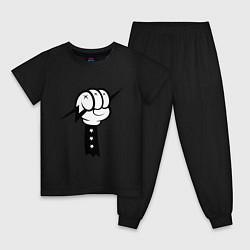 Пижама хлопковая детская Volt Hand цвета черный — фото 1