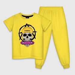 Пижама хлопковая детская Skate or Die цвета желтый — фото 1