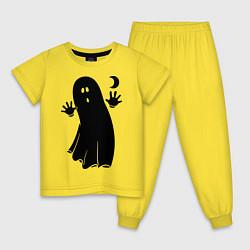Пижама хлопковая детская Приведение цвета желтый — фото 1