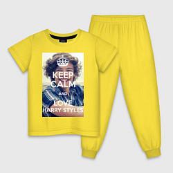 Пижама хлопковая детская Keep Calm & Love Harry Styles цвета желтый — фото 1