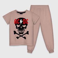 Пижама хлопковая детская AC/DC Skull цвета пыльно-розовый — фото 1