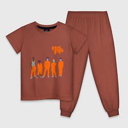 Пижама хлопковая детская Misfits Orange цвета кирпичный — фото 1