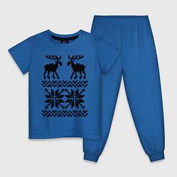Пижама хлопковая детская Узор с оленями цвета синий — фото 1