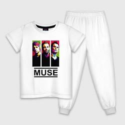 Пижама хлопковая детская Muse Art цвета белый — фото 1