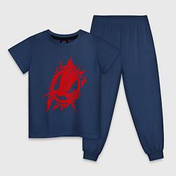 Пижама хлопковая детская Пламенная птица цвета тёмно-синий — фото 1