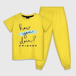 Пижама хлопковая детская How you doin? цвета желтый — фото 1