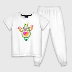 Пижама хлопковая детская Авокадо Likee цвета белый — фото 1
