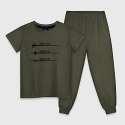 Пижама хлопковая детская Виды оружия для фехтования цвета меланж-хаки — фото 1