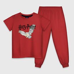 Пижама хлопковая детская Гарри Поттер: Букля цвета красный — фото 1