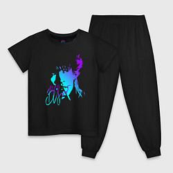 Пижама хлопковая детская Виктор Цой цвета черный — фото 1
