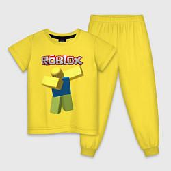 Пижама хлопковая детская Roblox Dab цвета желтый — фото 1