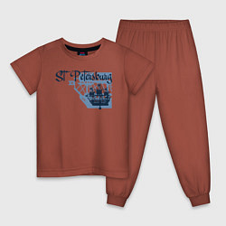 Пижама хлопковая детская St'Petersburg цвета кирпичный — фото 1