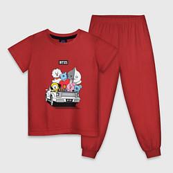 Пижама хлопковая детская BT21 цвета красный — фото 1