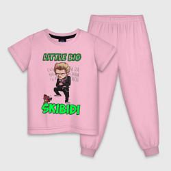 Пижама хлопковая детская Little Big цвета светло-розовый — фото 1