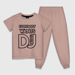 Пижама хлопковая детская Everybody Wants to be a Dj цвета пыльно-розовый — фото 1