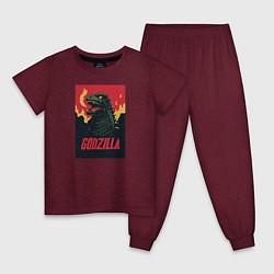 Пижама хлопковая детская Godzilla цвета меланж-бордовый — фото 1