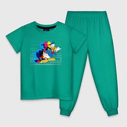 Пижама хлопковая детская Дональд Дак цвета зеленый — фото 1