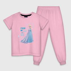 Пижама хлопковая детская Эльза: Холодное сердце цвета светло-розовый — фото 1